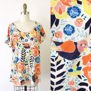 Lularoe Bird & Floral Graphic Perfect Tee M C52